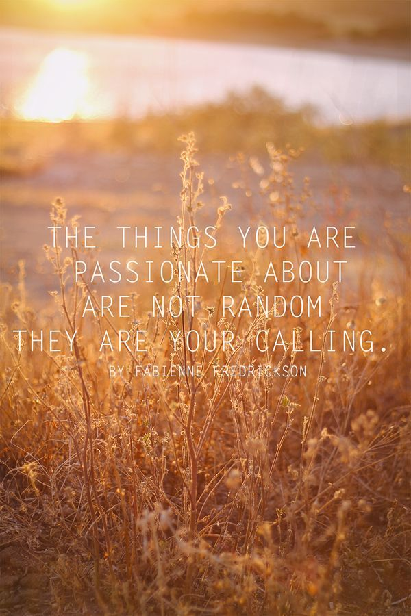 the things you are passionate about are not random, they are your calling - Fabienne Fredrickson
