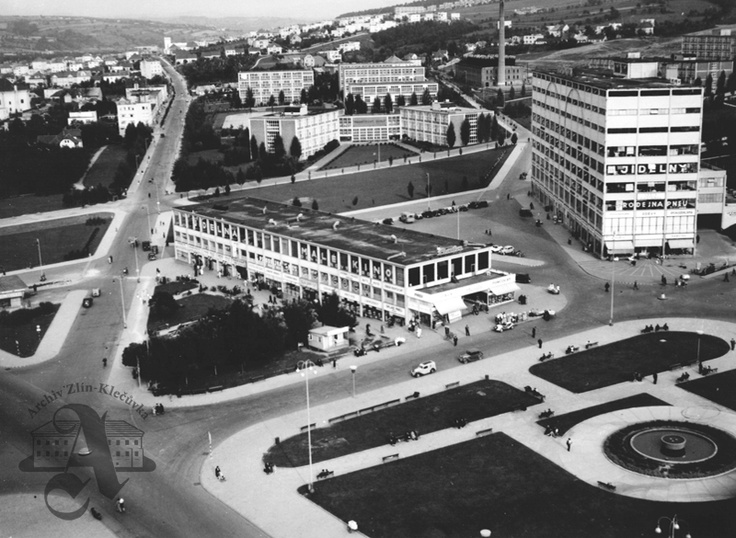 1918 Architect J. Kotěra submitted to Bata his proposal for a building project related to the premises opposite the factory – apart from residential districts, baths, a department store, post office, hotel, reading room, casino, cinema, nursery school, hospital and two schools were designed.