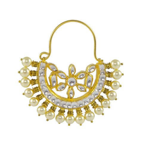 Golden Hoop with Pearl and White Kundan Stones