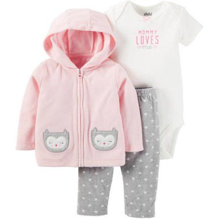 Child of Mine by Carter's Newborn Baby Girl Sweater, Bodysuit, and Pants Outfit Set, Size: 3 - 6 Months, Pink