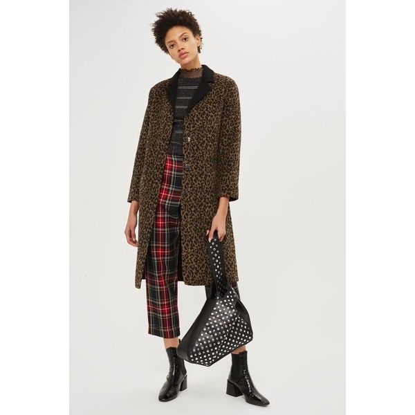 Topshop Buttoned Seam Leopard Print Coat (52 AUD) ❤ liked on Polyvore featuring outerwear, coats, true leopard, retro coat, leopard print coats, topshop coats, button coat and leopard coat