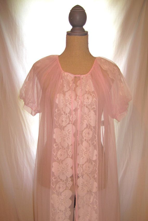 Vintage pink sheer lace Madman style women's nightie nightgown mid century bridal wedding nightie pink ribbon and ruffles floral lace pattern by 777DressCode, $39.75