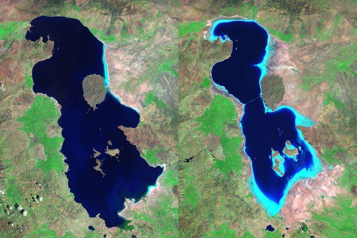 Az Urmia-tó 1985-ben és 2010-ben / The Urmia #lake in 1985 and #2010 Forrás/source: ete.cet.edu