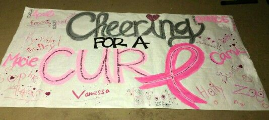 CHEERING for a cure! Football banner..... the girls signed around the edge, we'll keep it up on the fence for decoration ♡ Breast Cancer Awareness