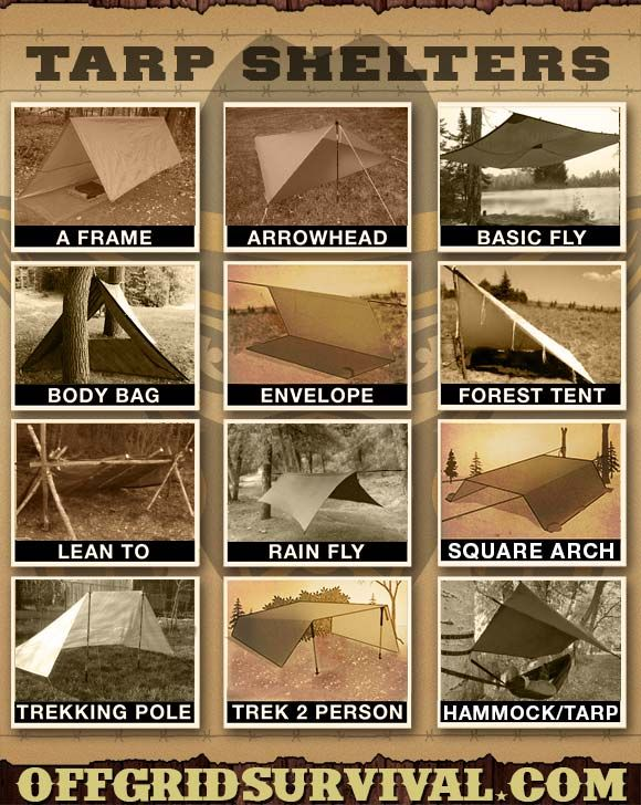 Tarp Shelters - Examples showing how to make multiple types of tarp shelters. With a small amount of paracord and a tarp, you can quickly setup an improvised shelter that will keep you dry and warm with a small reflected fire.