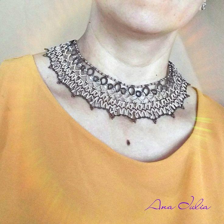 Juliette necklace - Ankars Tatting Jewellery by AnaIuliaTattingLace on Etsy