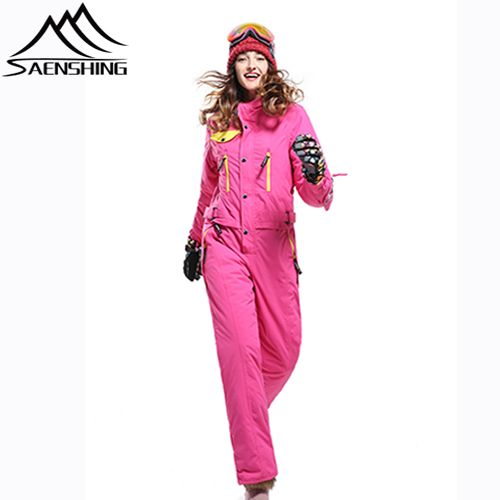 Stylish Polyester & Cotton Pink & Yellow Womens Waterproof & Windproof Long One Piece Suit Sale Online With Front Zipper