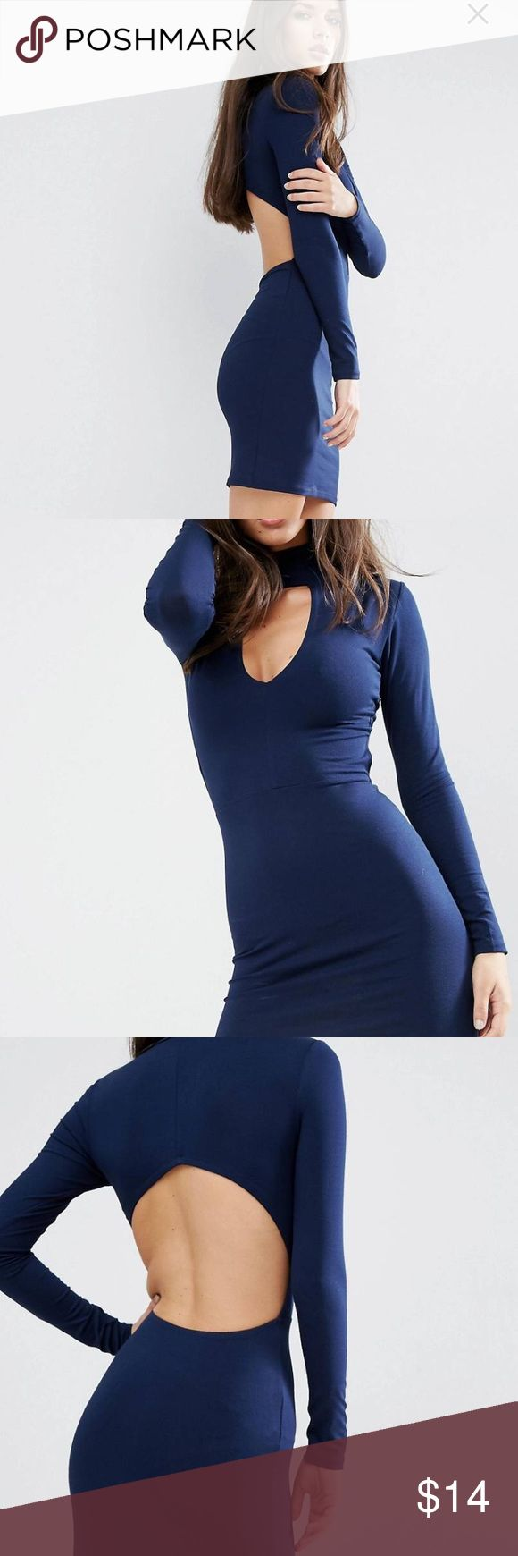 ASOS High Neck Open Back Long Sleeve Mini Dress Nice flirty little number great for a date night or girls night! Showy Showy! Asos Dresses Mini