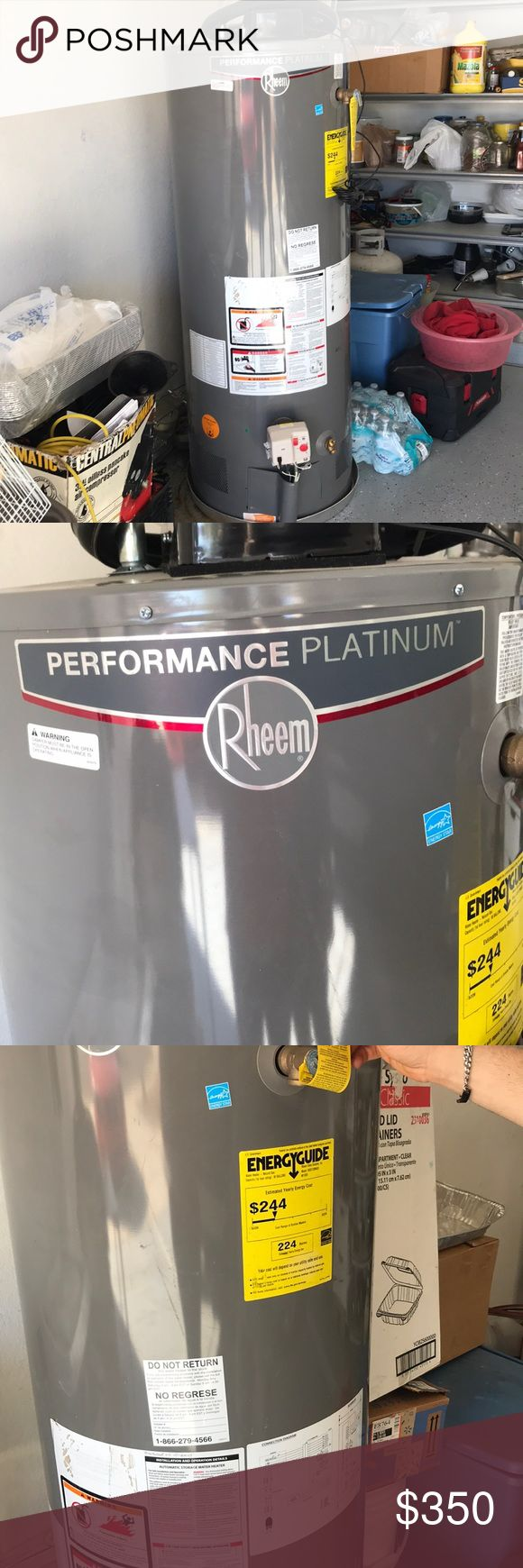 Performance platinum water heater Rheem high efficiency natural gas water heater. The push button ignition system ensures safe and easy startup. Its maintenance free combustion air intake system means there are no filters to clean and replace. The self-diagnostic gas control valve monitors system performance. A premium grade anode rod provides long lasting tank protection. Factory installed temperature and pressure relief valve and 3/4 in. water connections are included with the water heater…