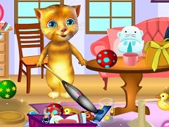 TALKING GINGER CLEANING ROOM - CAT GAMES