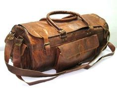 Leather Duffle Bag Gym Rolling Mens Weekender Brown Travel Luggage Vintage #Unbranded #DuffleGymBag
