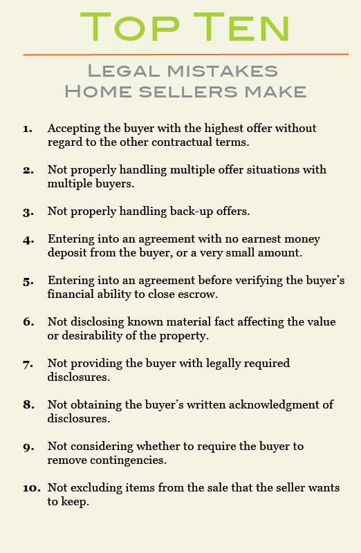Top Ten Legal Mistakes Home Sellers Make