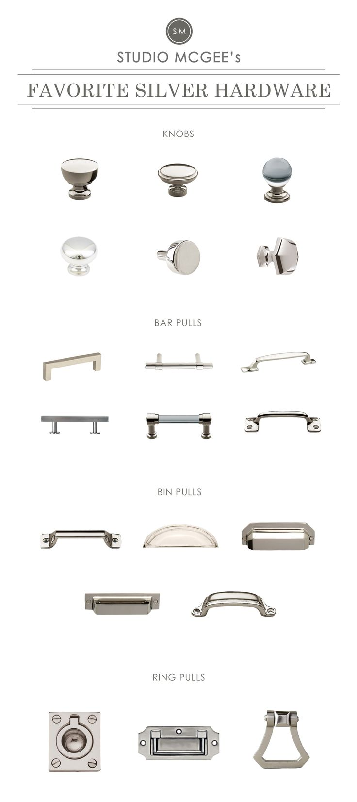 brushed nickel kitchen cabinet knobs studio mcgee silver hardware roundup   painting kitchen and bathroom cabinet ideas more at fosterginger pinterest a