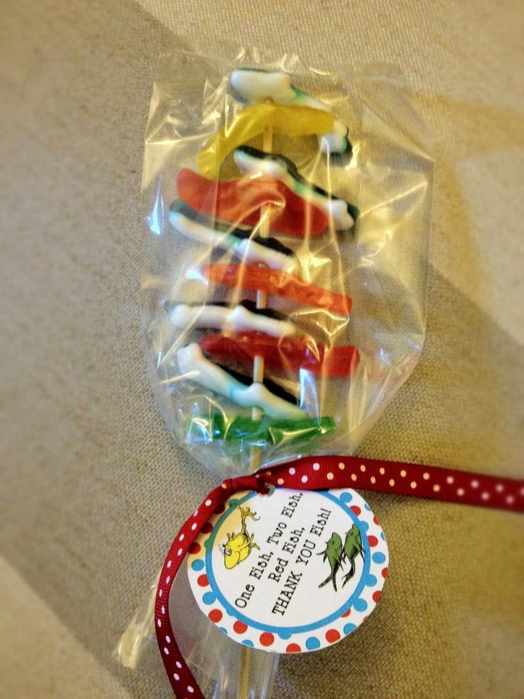Dr. Seuss Baby Shower - Gummy Fish On A Stick Favors