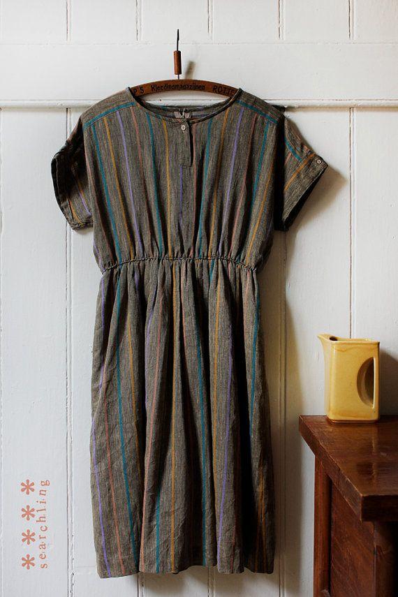 Vintage 1980's cute brown stripe dress Medium by Searchlingstudio