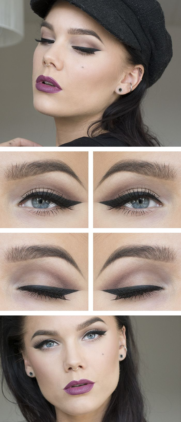 berry lips and brown eyes with winged eyeliner