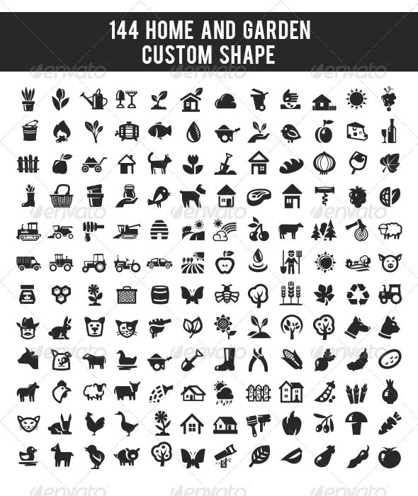 144 home and garden custom shape | photoshop, icons and adobe