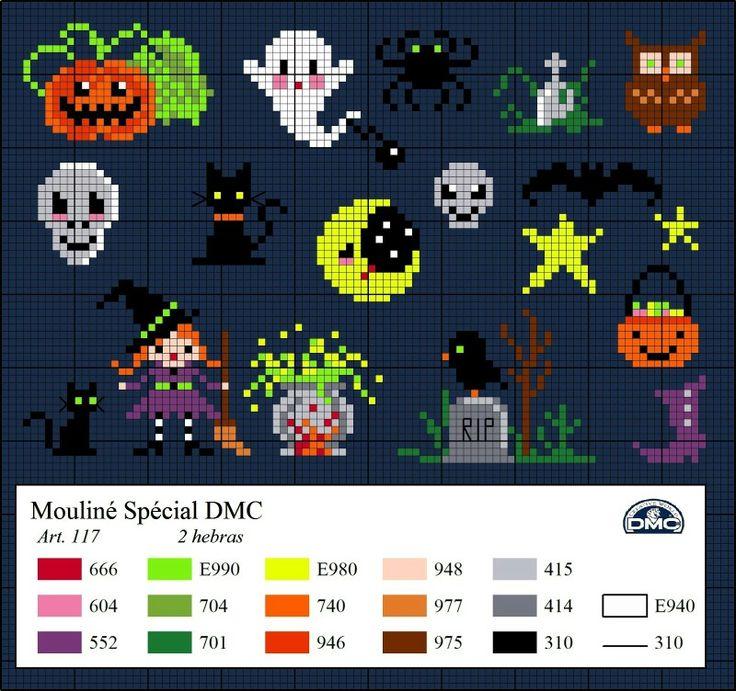 Dmc free pattern cross stitch mini Halloween motif witch cat pumpkin skull trick or treat cauldron spider bat ghost owl grave stone taven tip moon