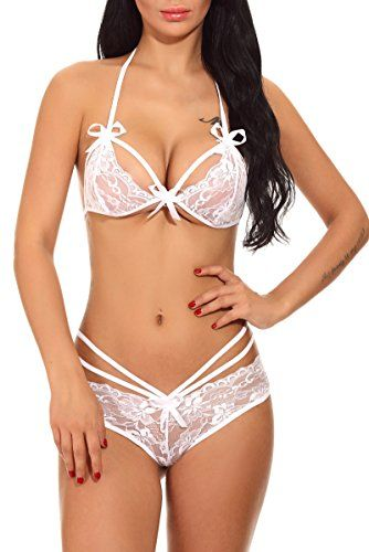 ca5acaaba  Sexy  Women  Sexy Bridal Lingerie Lace Bra Panty Set Strappy Babydoll  Underwear