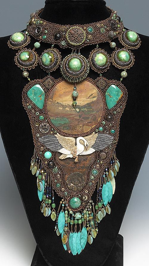 Bib-Style Necklace with Seed Beads and Turquoise Gemstone Beads - Fire Mountain