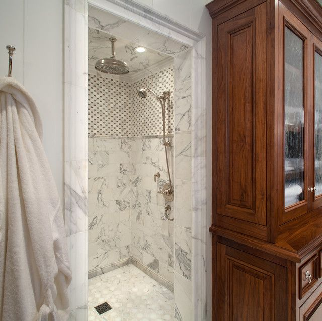 Grand Shower With Basket Weave Mosaic Tile Detail And