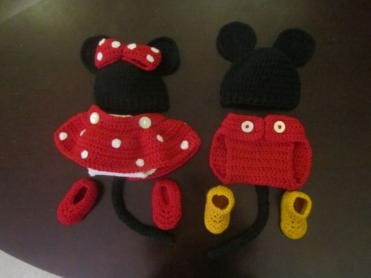 Crochet Baby Outfit featuring Mickey and Minnie Crochet Diaper Covers, Hats, and Booties