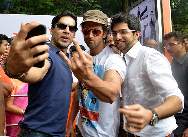 Hrithik Roshan inaugurated Dino Morea's DM Fitness launch at Five Gardens. Also present was youth leader Aditya Thackeray.