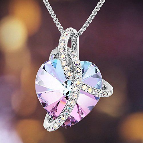 Valentines Day Gift For Her Girls Heart Pendant Necklace Crystals Swarovski New #Swarovski