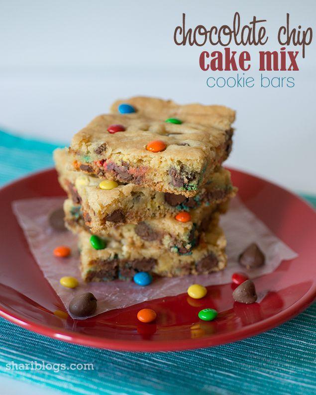 Chocolate Chip Cake Mix Cookie Bars Recipe Yellow Cake