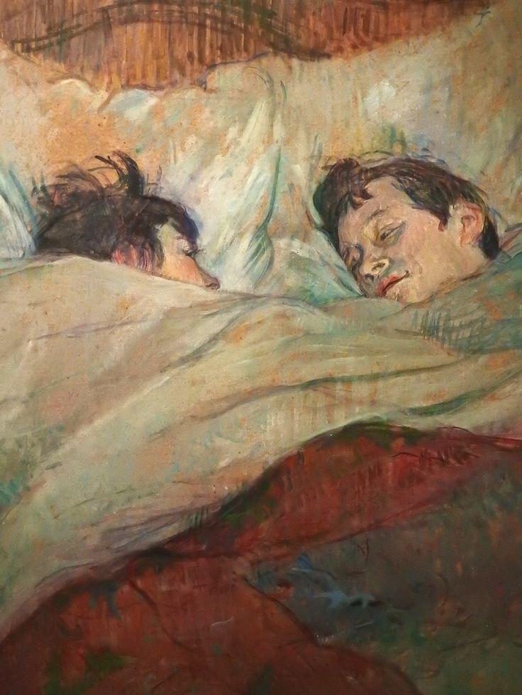 """TOULOUSE-LAUTREC (de) Henri,1892 - Le Lit (Orsay) - Detail -c   -   TAGS : details détail détails painting paintings peinture peintures 19th 19e """"peinture 19e"""" """"19th-century paintings"""" """"19th century"""" """"details of painting"""" """"details of paintings"""" woman women """"jeune femme"""" """"young woman"""" fille jeunesse youth girl """"young girl"""" """"jeune fille"""" white jeune young """"jeune homme"""" """"young man"""" couple amour amoureux love lovers lit bed sommeil rest repos sleep adorable face visage beauté beauty cut sweet…"""