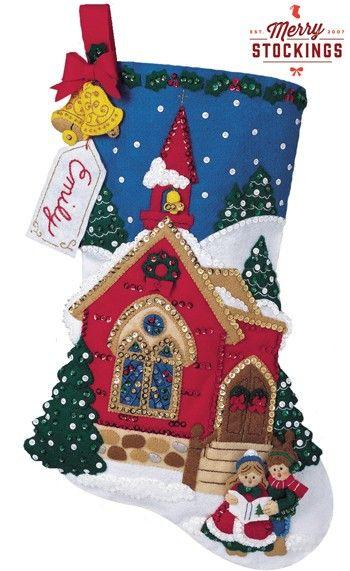 O' Holy Night Carolers Bucilla Felt Christmas Stocking Kit