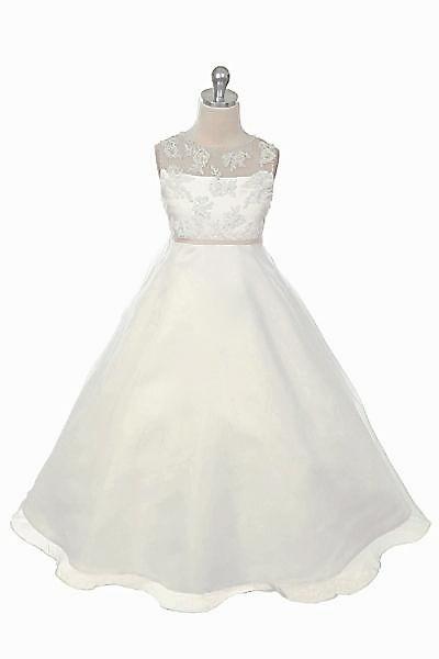 Lidia, Elegant jurkje voor bruidskinderen. Kanten bovenlijfje met organza overrok. Kinderbruidsmode, kinderbruidskleding, bruidsmeisjes jurken, bruidsmeisjes jurk, bruidskinderen, bruidskinderkleding, flower girls.