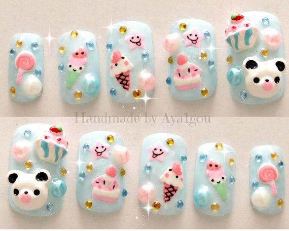 Hey, I found this really awesome Etsy listing at http://www.etsy.com/listing/158175260/kawaii-nails-kuma-3d-nails-japanese-nail