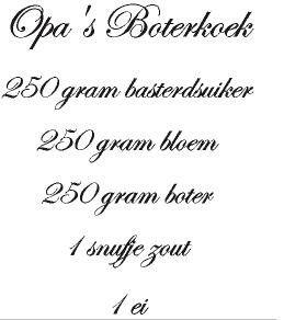 opa`s boterkoek   Muurstickers interieurstickers keuken / recepten  