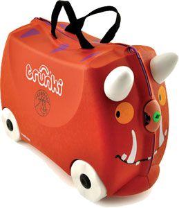 Trunki / Guffalo  TRUNKI ER EN KUFFERT PÅ HJUL – DESIGNET TIL BØRN PÅ FARTEN  Børnene kan pakke deres Trunki med alt deres yndlings legetøj, køre på den, sidde på den, trække den eller blive trukket af deres forældre. www.farmorsoutlet.dk