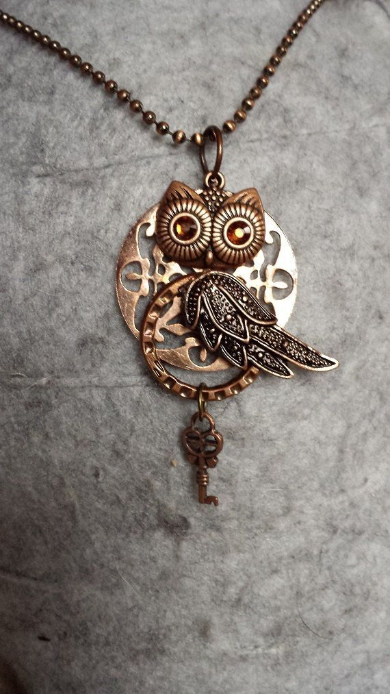 Steampunk Owl Key Necklace by KreationsByKimH on Etsy
