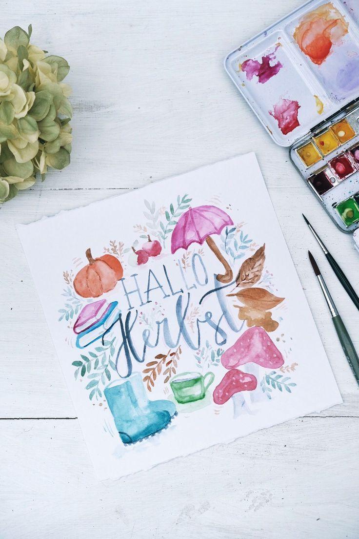 Hallo Herbst   Aquarell malen   #herbst #aquarell
