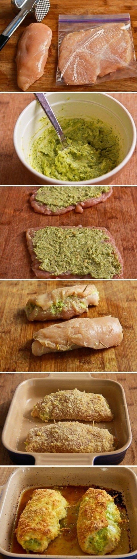 kip met pesto en kaas - http://www.ah.nl/allerhande/recepten/742038/kiprolletjes-met-pesto