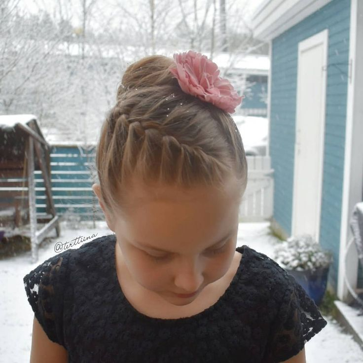 Braids & Hair by @terttiina Instagram: French braid into a bun on my daughter's friend for school #finnishindependenceday ball