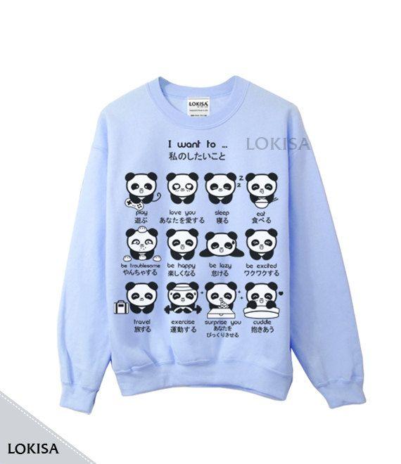 Japanse Panda Emoticon Crewneck Sweatshirt
