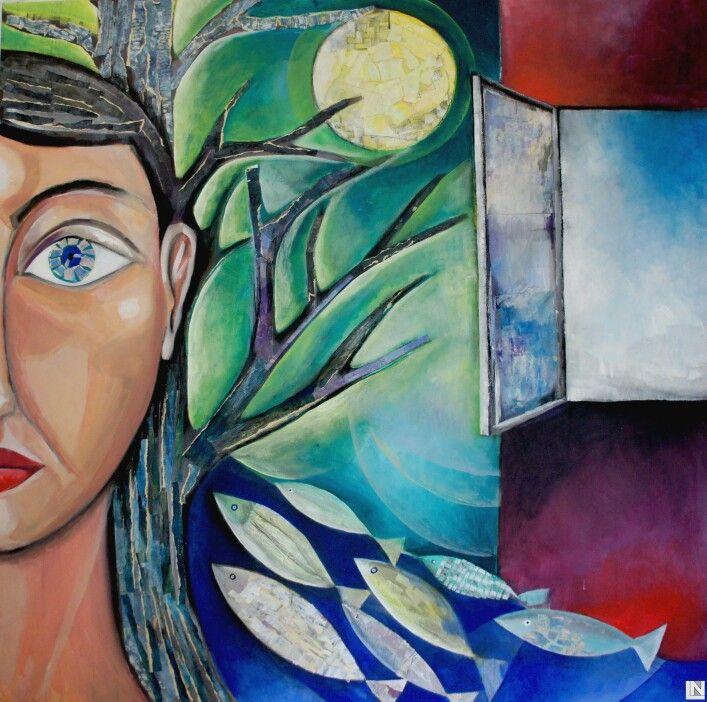 100x100 acrilic on canvas She&the Sea 2014 www.lora-nikolova.com