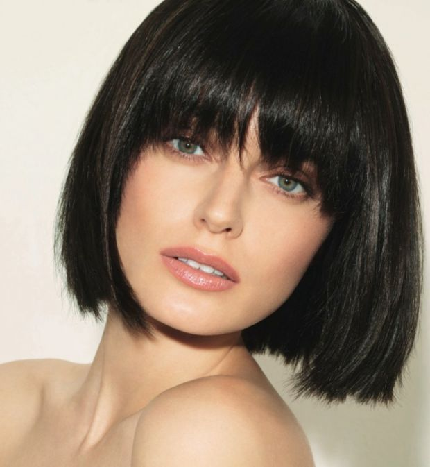 Brunette bob with bangs. http://beautyeditor.ca/2014/09/25/haircut-after-donation