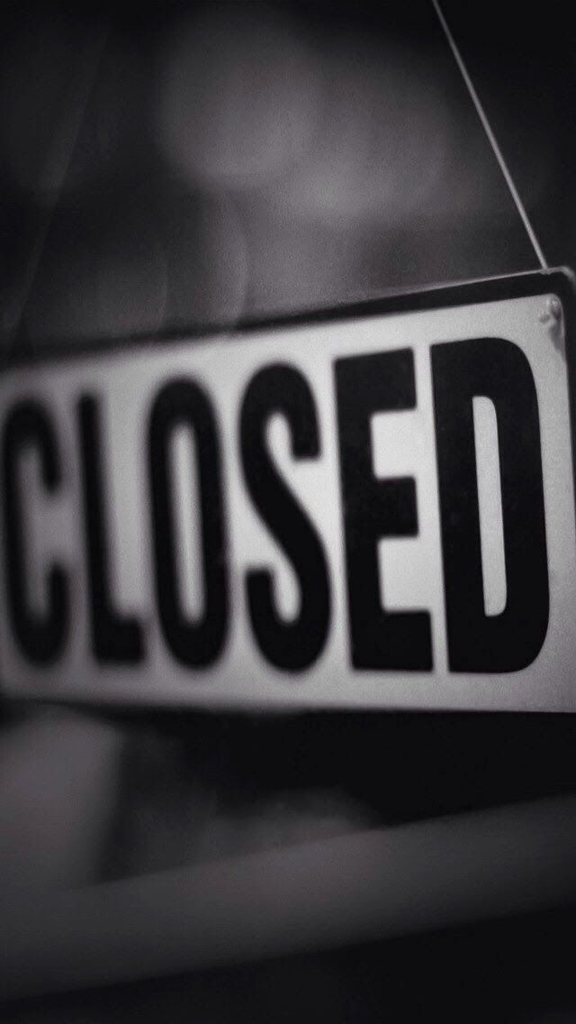 Black white Closed sign iphone wallpaper phone background lock screen