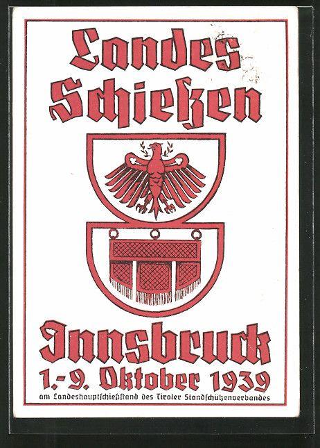 old postcard: AK Innsbruck, Landesschießen 1939, Wappen