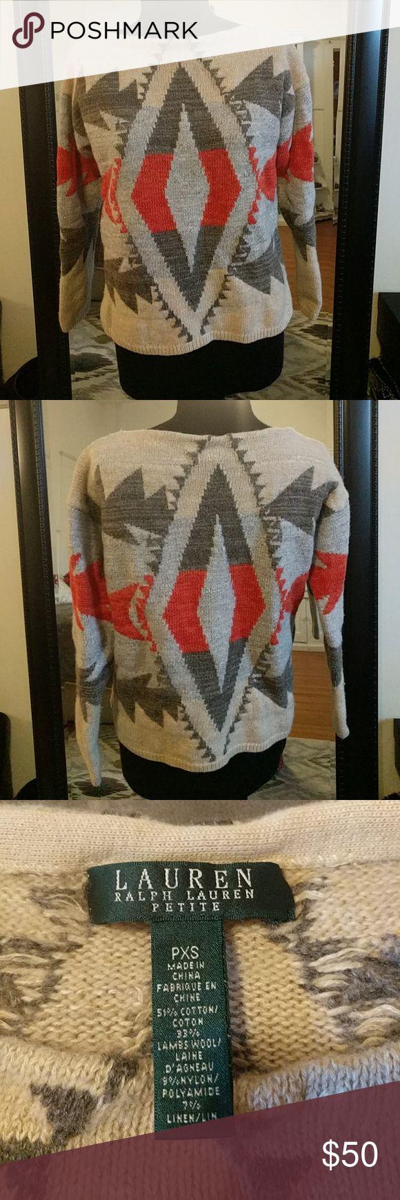 Ralph Lauren wool-blend sweater Fun tribal print sweater by Ralph Lauren. 51% Cotton; 33% Lambs wool; 9% Nylon; 7% Linen. Ralph Lauren Tops