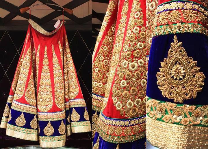Bridal Wear Lehenga Choli. Amazing Bright Red and Blue combination...