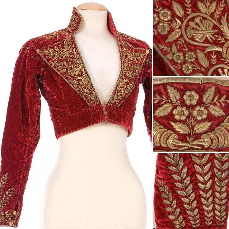 Red Incredible red silk velvet spencer with gold embroidery, featuring flowers, ears of corn, and wheat motifs. (1790-1815) In the collection of the Textile Museum and Documentation Centre (CDMT), Salmerón, Spain ...