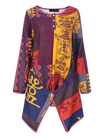 Осень Этнические многоцветной печати O шеи Нерегулярные Хем Блуза для женщин - Newchic Мода Рубашка