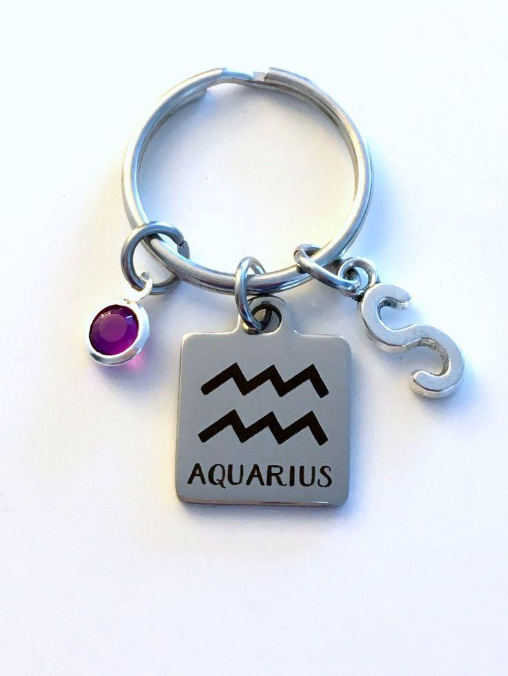 Aquarius KeyChain, Zodiac Sign Key Chain, Gift for Birthday Present Keyring Birthstone Initial Personalized Man Letter February January Men by aJoyfulSurprise on Etsy
