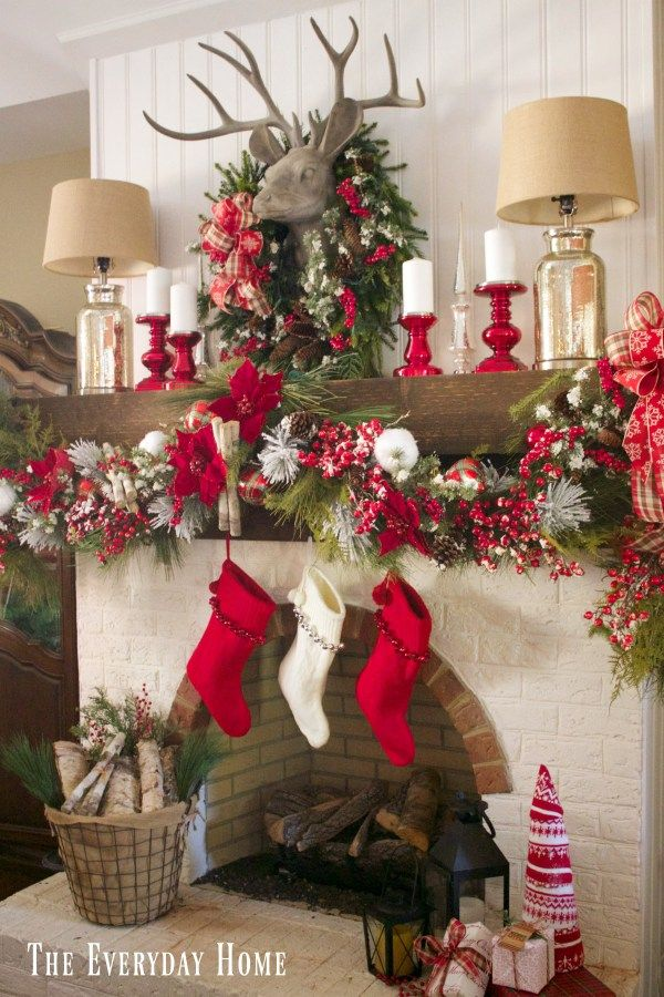 A Festive and Plaid Christmas Mantel in the Dining Room   The Everyday Home   www.everydayhomeblog.com